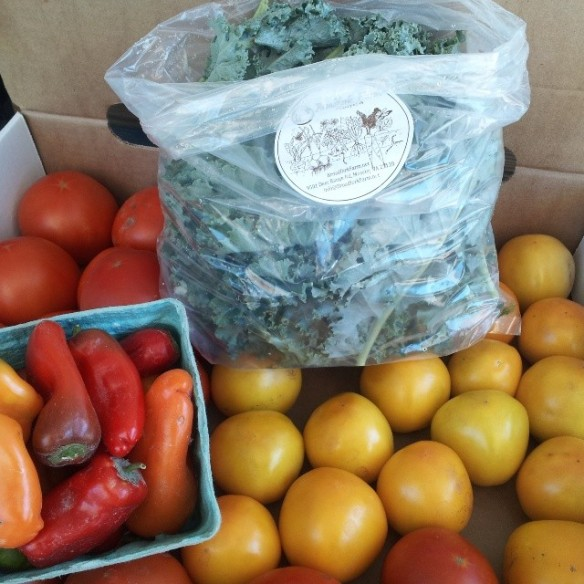 farm stand kale lunchbox peppers yellow tomatoes 2014-07-05